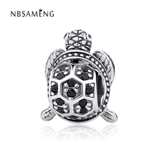 Authentic 925 Sterling Silver Bead Charm Vintage Cute Turtle With Crystal Beads Fit Pandora Bracelet Bangle DIY Jewelry YW20367