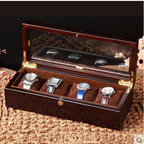 Retro 4 grid black walnut wooden watch box wood watches case with glass window watches box reloj for Watches box