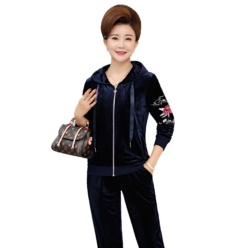 Autumn Womens Velour Tracksuit Sets Ladies Gold Velvet Suit Sportswear Track Suit Hoodies And Pants Largre Big Size XL-5XL R94