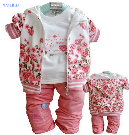 YMLBID 2017 New Baby Clothing Set Girls Coat+t shirt+Pants 3pcs in 1 Suit Retai Winter Autumn Warm kids Clothes Set 2015 autumn girls clothes fashion punk pu leather coat jacket shirt pants 3pcs children clothing set 4 15 years old kids clothes page href