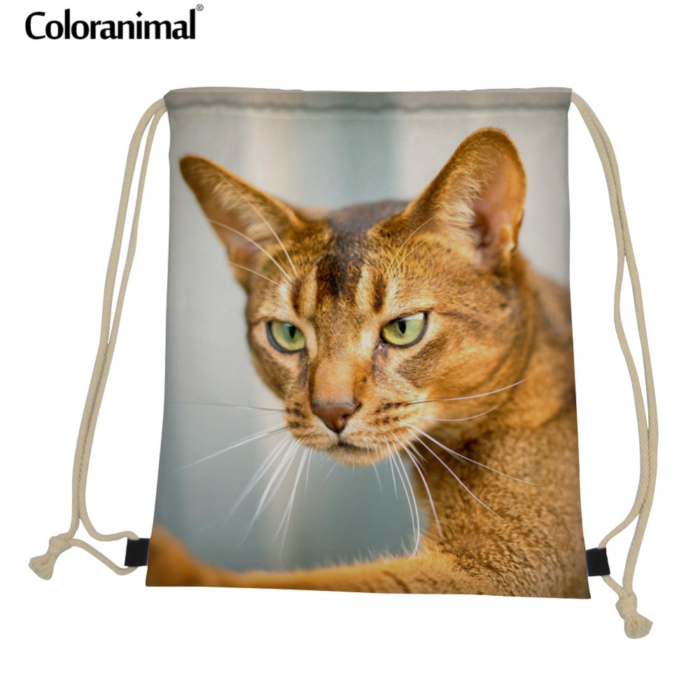 Coloranimal Folding Drawstring Bag For Men Women Cute Puppied Abyssinian Cat Print Femme Backpack Gym Sack Casual Storage Pouch