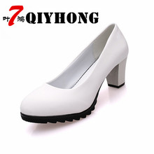 Summer Waterproof Platform Shallow Round High Heels OL Professional Tooling Shoes Hotel Black Thick With Single Shoes Female цены онлайн