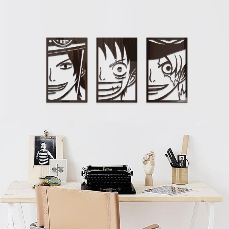 Us 146 27 Offone Piece Luffy Ace Saab Cartoon Anime 3d Self Adhesive Acrylic Wallsticker Child Decoration Painting Black Waterproof Wallpaper In