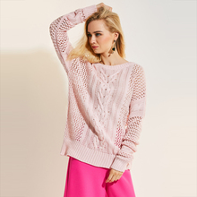 Young17 Autumn Sweater Women 2017 Pink Long Sleeve Round Neck Hollow Casual Plain Loose Fall Sweater Women Pullover Sweater