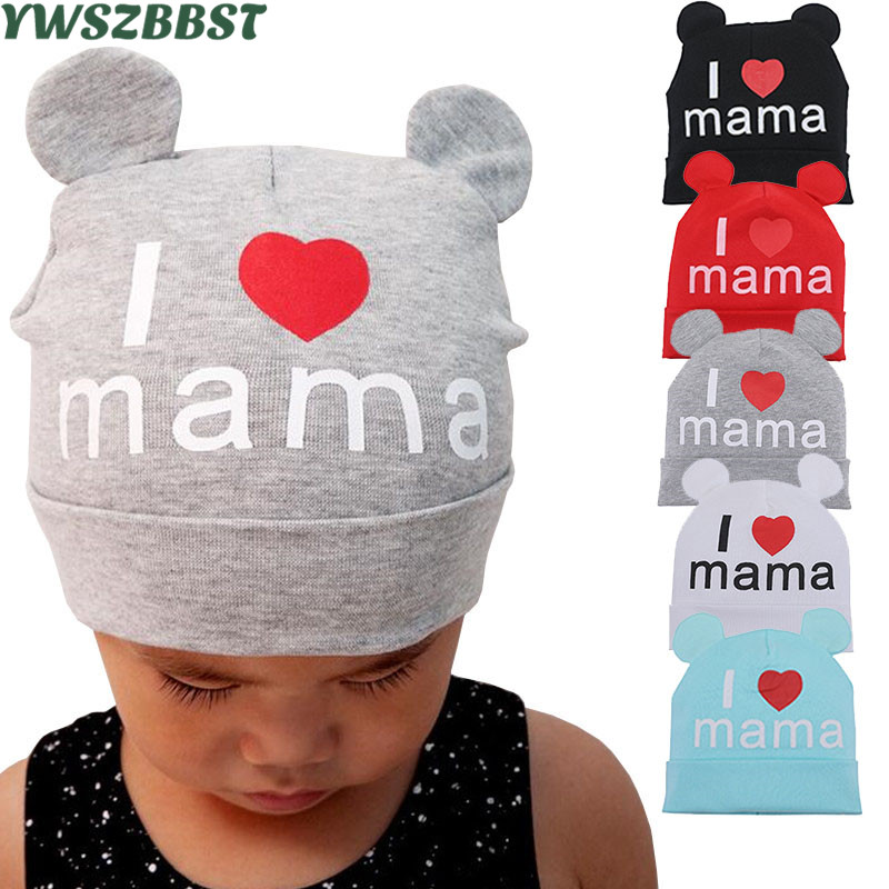New Spring Autumn Baby Hat Cute Ear Cotton Girls Cap Scarf Infant Hats I Love MaMa Kids Boys Knitted Cap Winter Children Hat