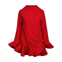 New coat Autumn and winter net red same type of trumpet sleeves petals petal loose coat.