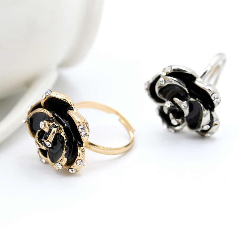 Hot Sale Fashion Jewelry Rings Black Rose Flower Opening Rings Index Finger Adjustable Rings For Woman drop Shipping
