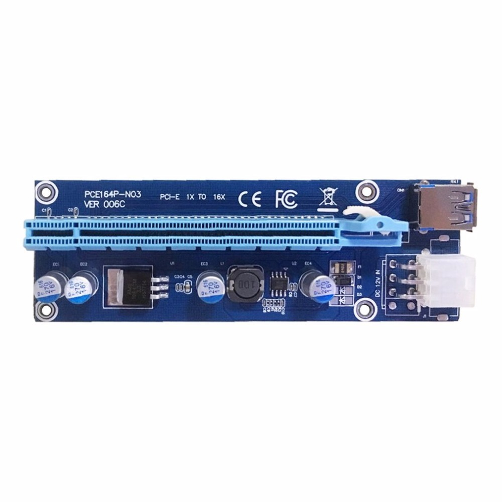U34 0.6M PCI-E 1x to 16x PCI Express Riser Card USB 3.0 Data Cable SATA to 6Pin IDE Molex for BTC Miner Machine