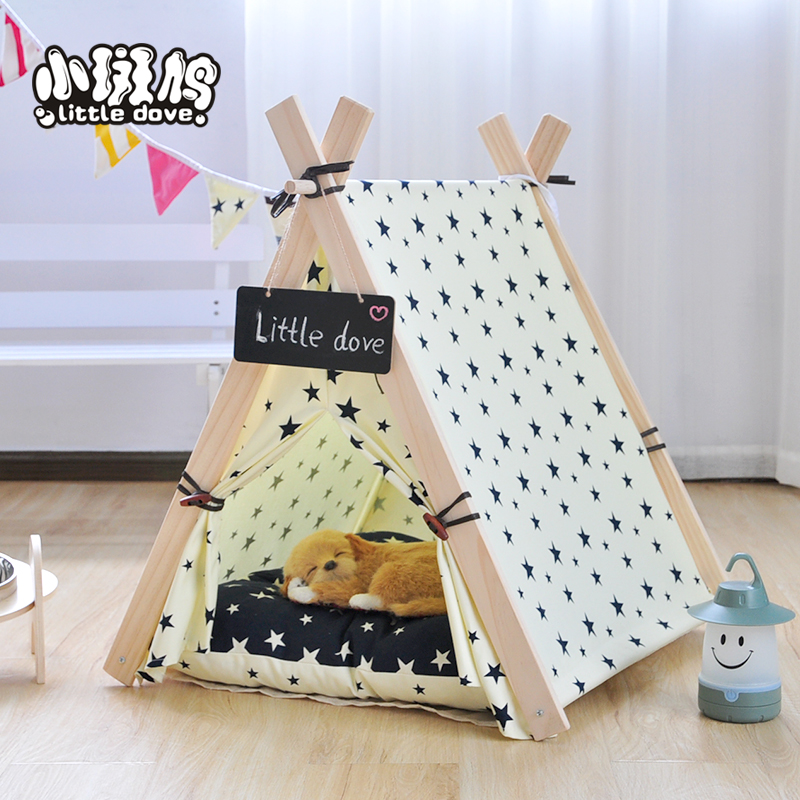star printing 100% cotton fabric teepee play tent dog /cat ...