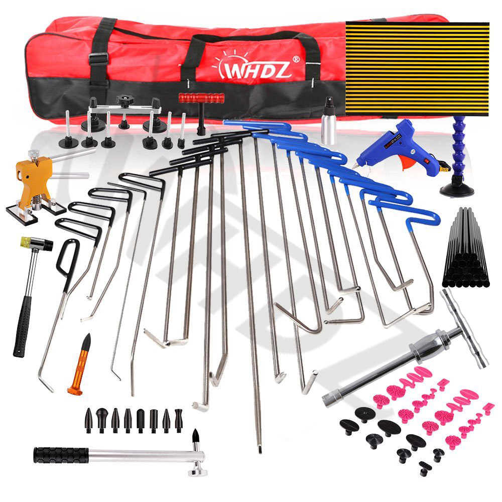 Pdr Rods Kit with Slider Hammer Dent Lifter Bridge Puller Set LED Line Board Glue Stricks Pro Pulling Tabs Kit for Pop a Dent  pdr rods kit with slider hammer dent lifter bridge puller set led line board glue stricks pro pulling tabs kit for pop a dent