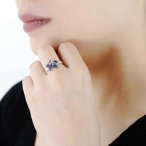 Image 5 - Santuzza シルバー女性のための 925 スターリングシルバー咲く花青白キュービックジルコニア кольца anillos パーティージュエリー