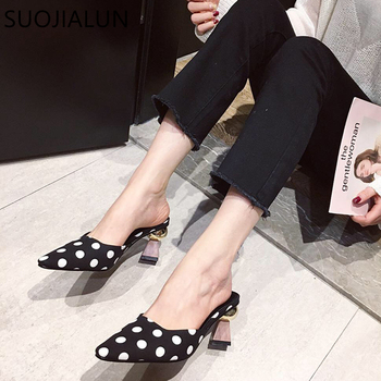 SUOJIALUN 2019 Spring Brand New Women Med Heel Slippers Fashion Polk Dot Mule Shoes Strange Med Heel Lady Female Slip On Shoes