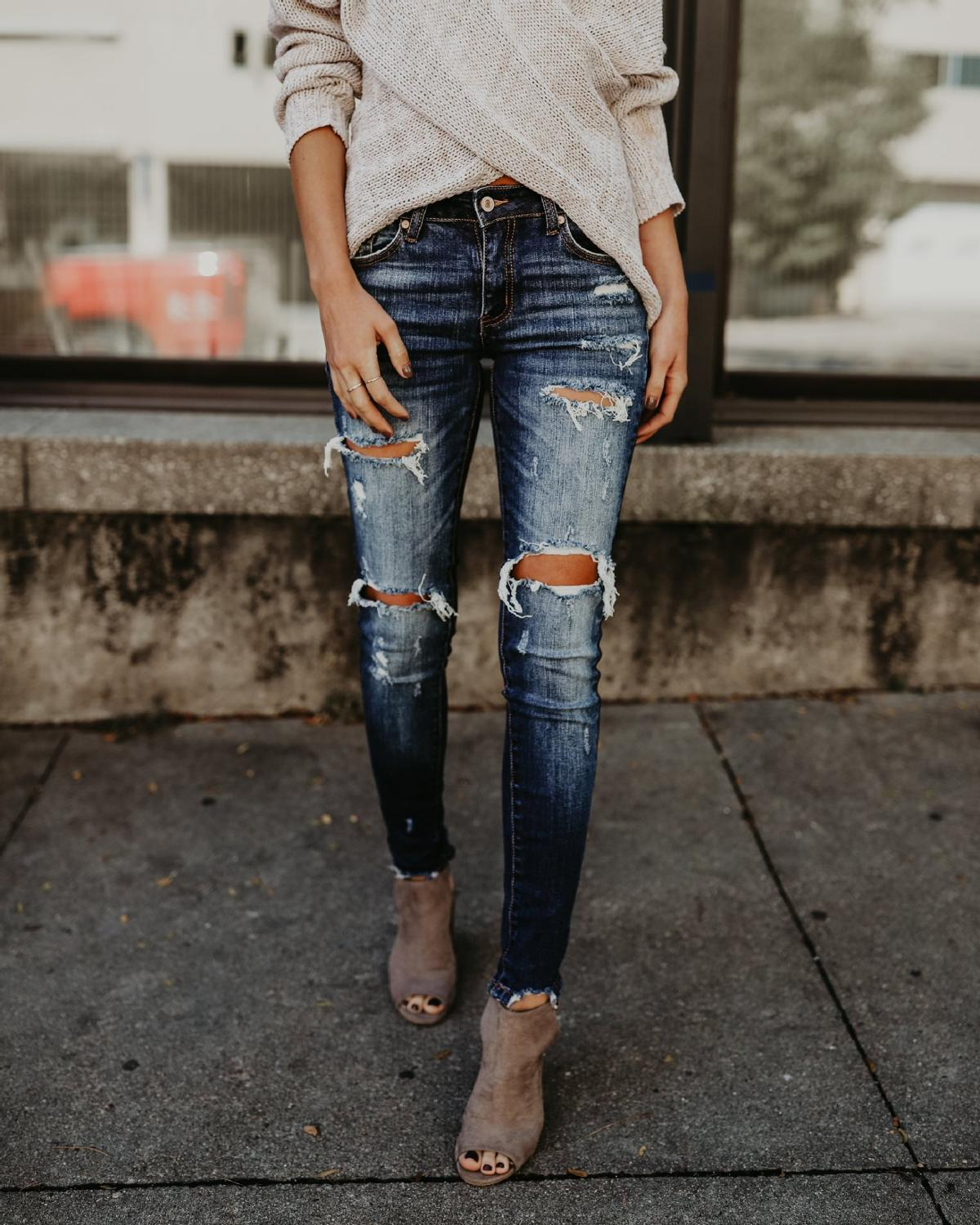 2019 Winter Womans Jeans Casual Ripped Hole Cropped Slim Fit Skinny Long Jeans Women High Waist Skinny Pencil Blue Denim Pants