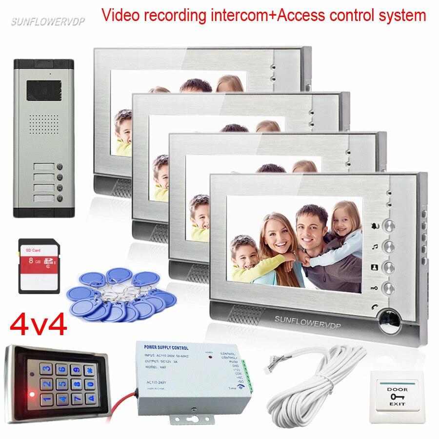 Tastiera di Controllo di accesso Video Portiere di Casa 4 Pulsanti Codice di Registrazione Video Ingresso Porta CCD Camera Citofono Telefono Rfid Kit