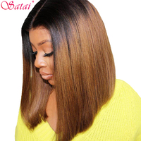 Satai Short Bob Wigs Lace Front Human Hair Wigs Pre Plucked Human Hair Wigs Brazilian Remy Bob Lace Front Wigs For Black Women