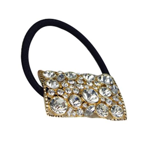 MYPF Square Full Rhinestone Elastic Hair Rope Headband Hairband Headpiece Jewelry New Color Gold