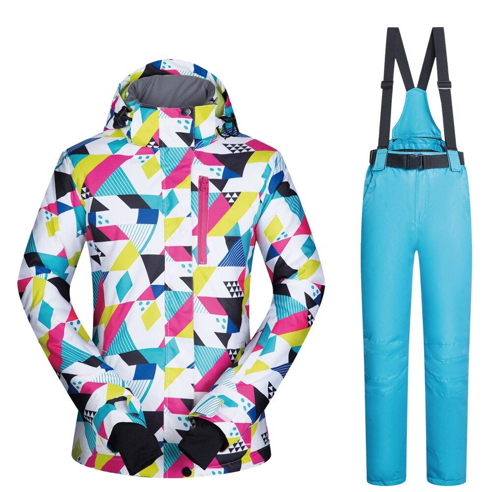 Femmes combinaison de Ski marques nouvelle haute qualité coupe-vent imperméable chaleur ensemble pantalon de neige et veste de Ski hiver Snowboard costumes femmes