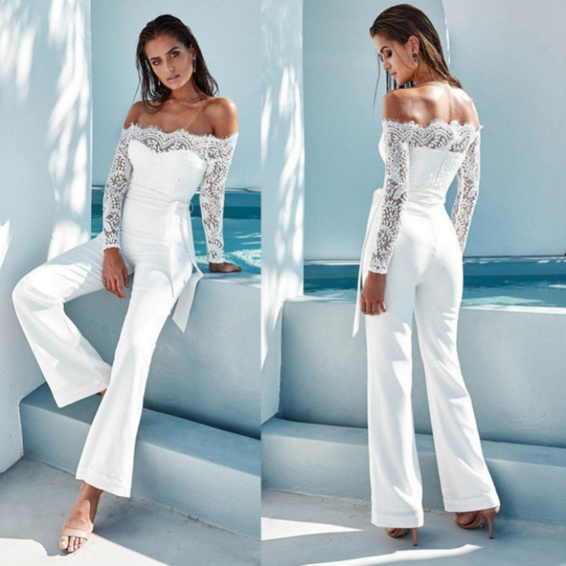 Summer Sexy Off Shoulder Bodycon Lace Trim   Jumpsuits   Women Party Clubwear   Jumpsuits   Casual Bowtie Overalls   Jumpsuit   New White