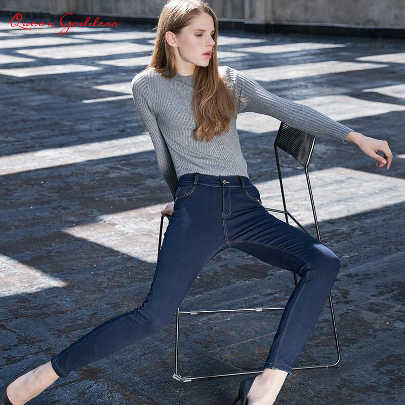 Winter new women 's jeans Europe and the United States plus cotton wool denim high waist elastic feet warm jeans
