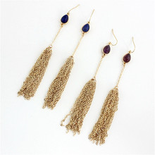 2016 free shipping fashion accessories wholesale Lapis lazuli/purple crystal Personality long chain tassel earrings
