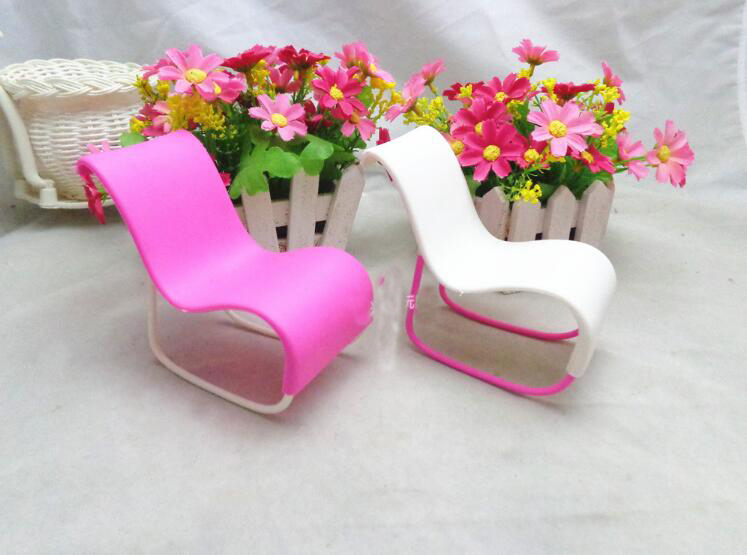 1Pcs New Style Rocking Chair Accessories For Dolls House Decoration Rocker Pink Toys