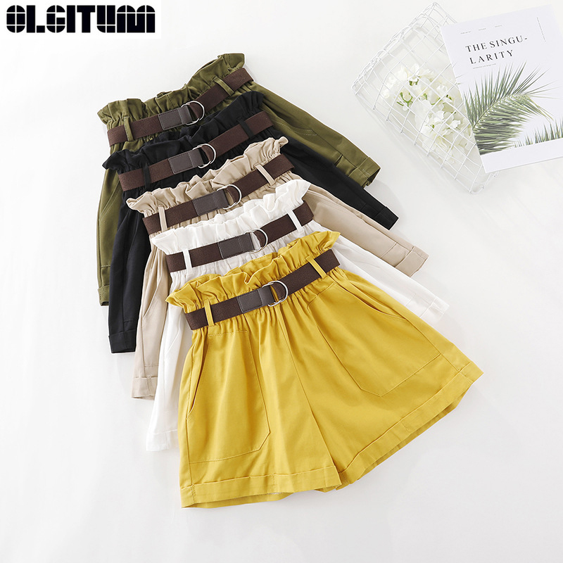 Summer 2019 New Women Korean Version Wild Elastic High Waist Cotton Flower Waist Loose Wide-leg   Shorts   Free Belt PT291