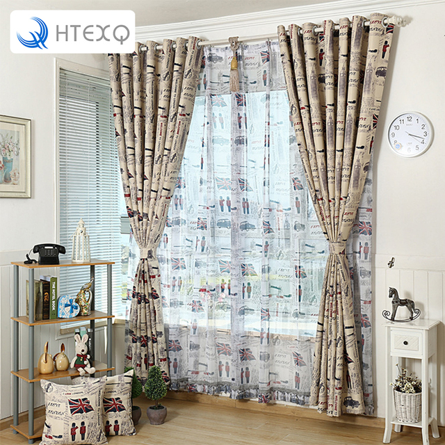 Modern British Style Window Curtain For Balcony Or Living Room Floral Print Curtains  Drapes Insulated Blackout Part 89