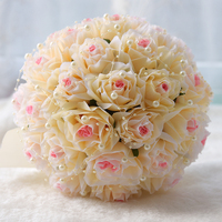NZUK 2018 6 Color high end custom bride hand holding flower bouquet pearl simulation ivory pink roses green leaves Z657