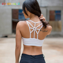 Colorvalue Breathable Strappy Yoga Running Bras Women Padded Mid Support Sports Bra Quick Dry Push Up
