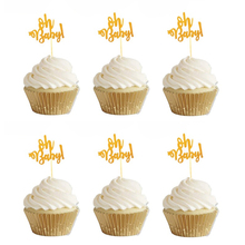 10pcs Glitter Gold Oh Baby Cupcake Toppers oh boy Girl Shower Balloon Happy Birthday Cake Decoration Kids Party