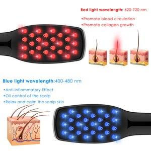 Image 5 - 3 IN 1 USB נטענת לייזר צמיחת שיער אינפרא אדום חשמלי עיסוי אנטי שיער אובדן פוטותרפיה קרקפת לעיסוי מסרק LED אור