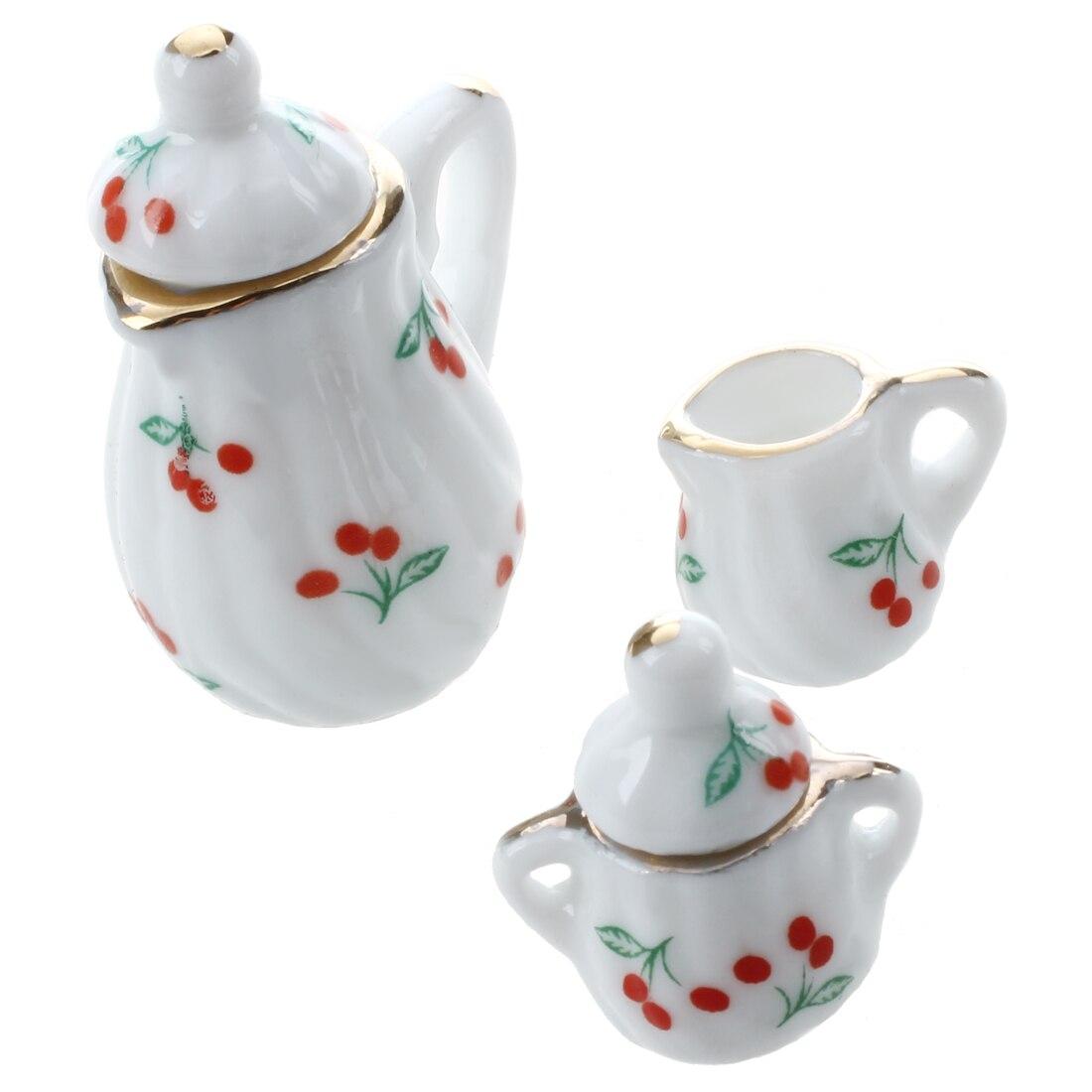15pcs Dollhouse Miniature Dining Room Porcelain Tea Set Dish Cup Red Cherry