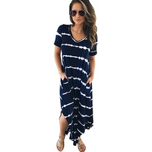 Style women dress womens striped sexy printed pockets v-neck clothing new ladies female dresses