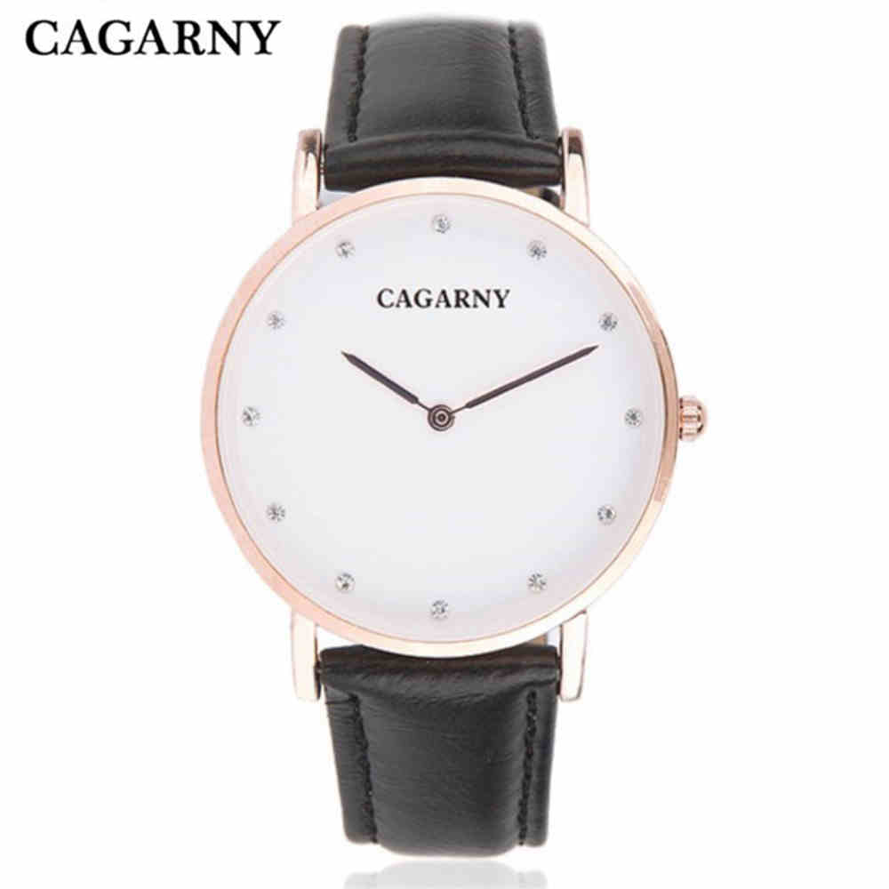 ᗛcagarny Brand Fashion Women Luxury Diamonds Wristwatch Leather