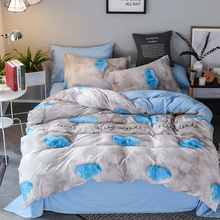 Flaky Clouds bed linen set quilts and bedding sets Single Double Queen King Bed Cover Flat Sheet Blue Grey new 3PCS/4PCS
