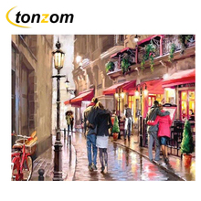 RIHE Rain Alley Drawing By Numbers DIY Lovers Walking Painting Handwork On Canvas Oil Art Coloring Home Decor