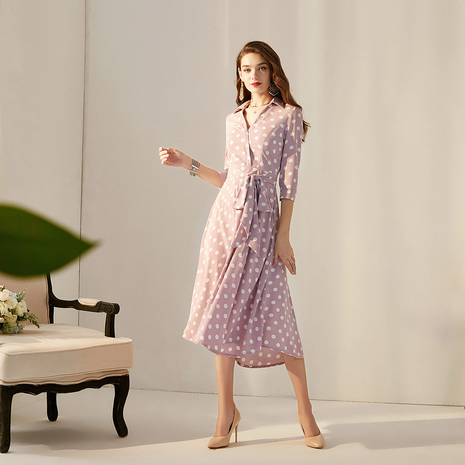 2019 printemps été robe col en v vague point robe longue ceinture mode tempérament vintage grande taille a-ligne robe h10