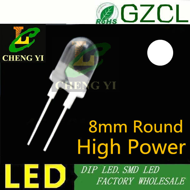 Free shipping 40 45LM 0 5w high power dip led 8mm round white led diode 6000