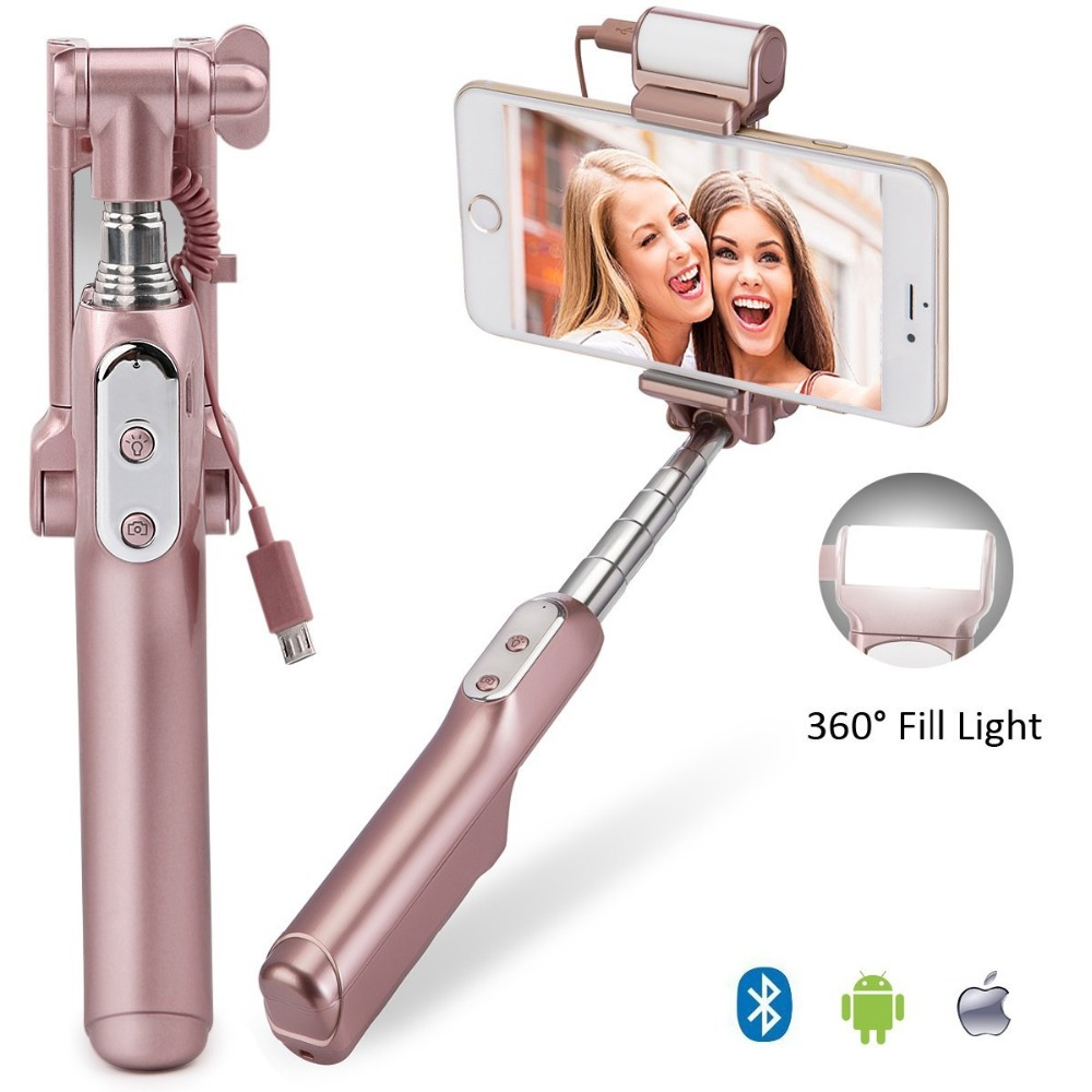 Ulanzi MiniPai Universal Bluetooth Selfie Stick Monopod with mini Rear Mirror/LED Selfie Fill Light for iPhone X Huawei Samsung led luminous selfie light case for iphone