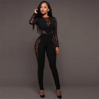 Autumn Black Lace Stitch Backless High Waist Jumpsuit Women Hollow Out Sexy Girl Rompers Patchwork Long Sleeve Bodysuit Hot Sale