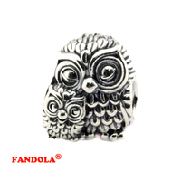 Fits Pandora Bracelets Charming Owls Silver Beads Authentic 925 Sterling Silver Charms DIY Jewelry Wholesale FL430