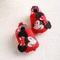 2017 Nuevo rojo de la historieta del niño zapatos de bebé zapatos de las muchachas de flor de impresión bebé recién nacido lindo cack primeros caminante Suaves del bebé zapatos de vestir