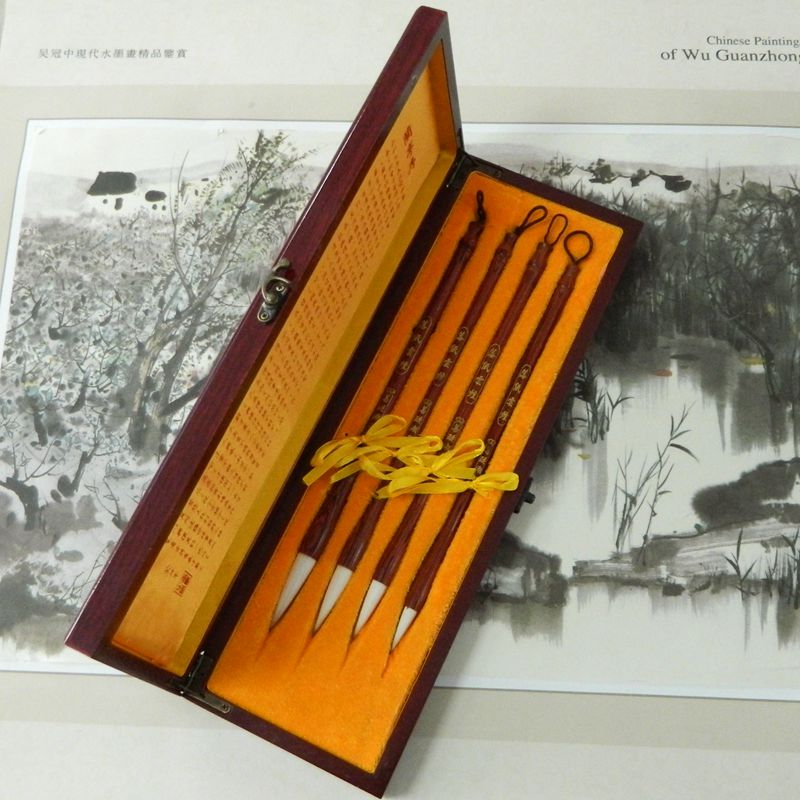 ФОТО Boutique gift brush set red sandalwood bar Luozhiyunyan high-end cents exquisite gifts