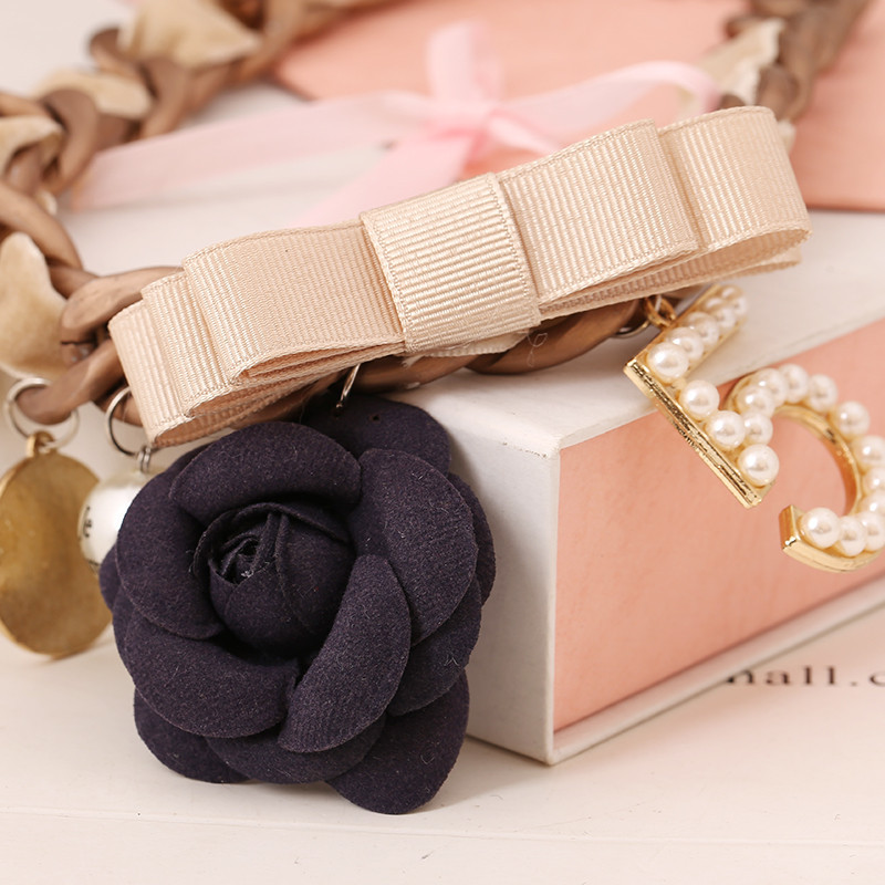 Rose Number 5 Bow Statement Necklace Charms Fashion Choker Necklace - Fashion Jewelry - Photo 4