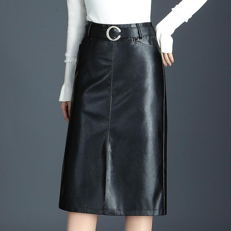 Woman Spring Plus Size Pu Skirts Female Autumn Oversized Leather Skirt Lady Winter Black Bodycon Leather Knee Length Skirt