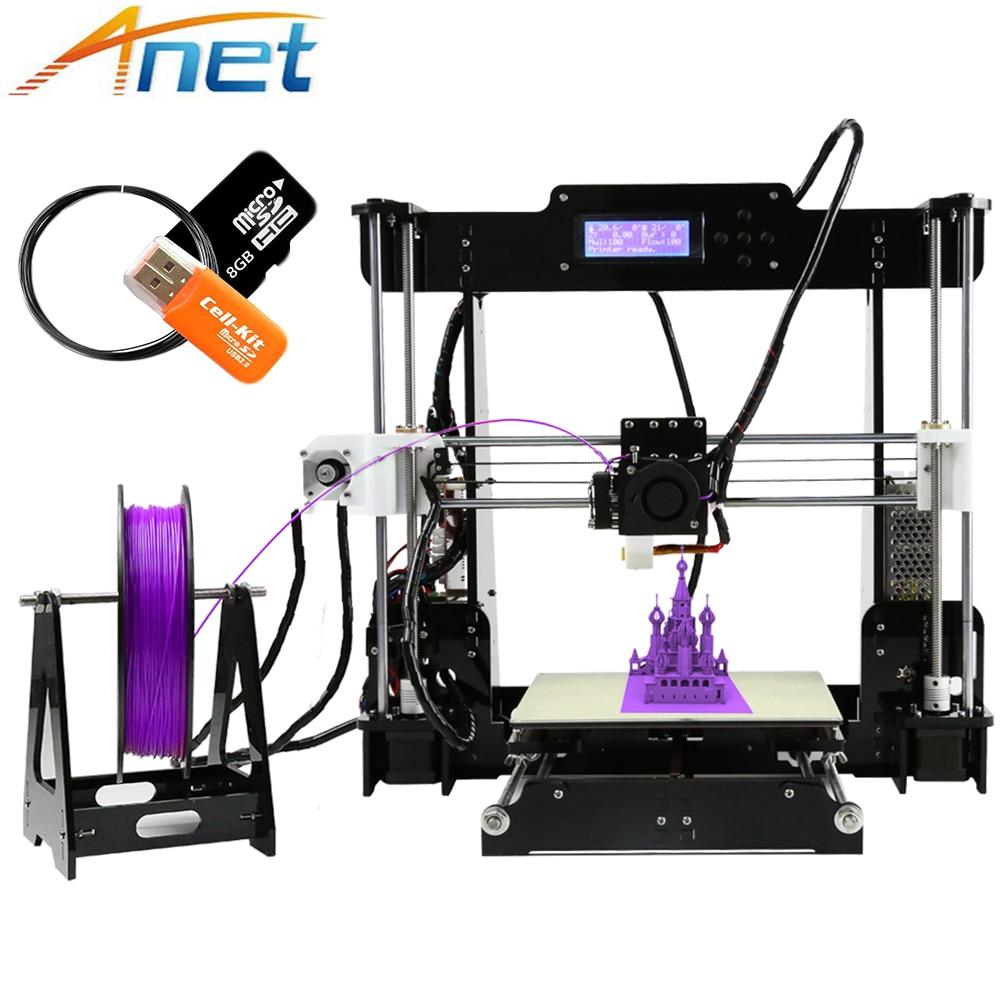Usine vente Anet A8 3D imprimante 2004 LCD MK8 buse haute précision Reprap i3 kit de bricolage imprimante 3D taille d'impression 220*220*240mm