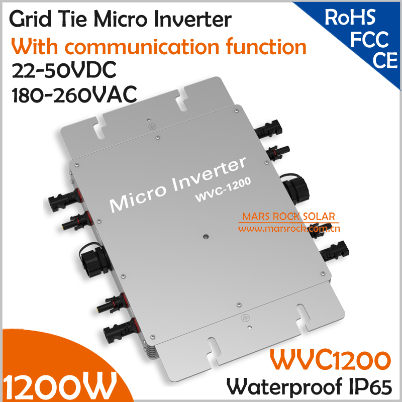 Waterproof!!! 1200W micro inverter with communication function 22-50VDC 180-260VAC grid tie inverter for 4pcs 300W 36V PV panels 22 50v dc to ac110v or 220v waterproof 1200w grid tie mppt micro inverter with wireless communication function for 36v pv system