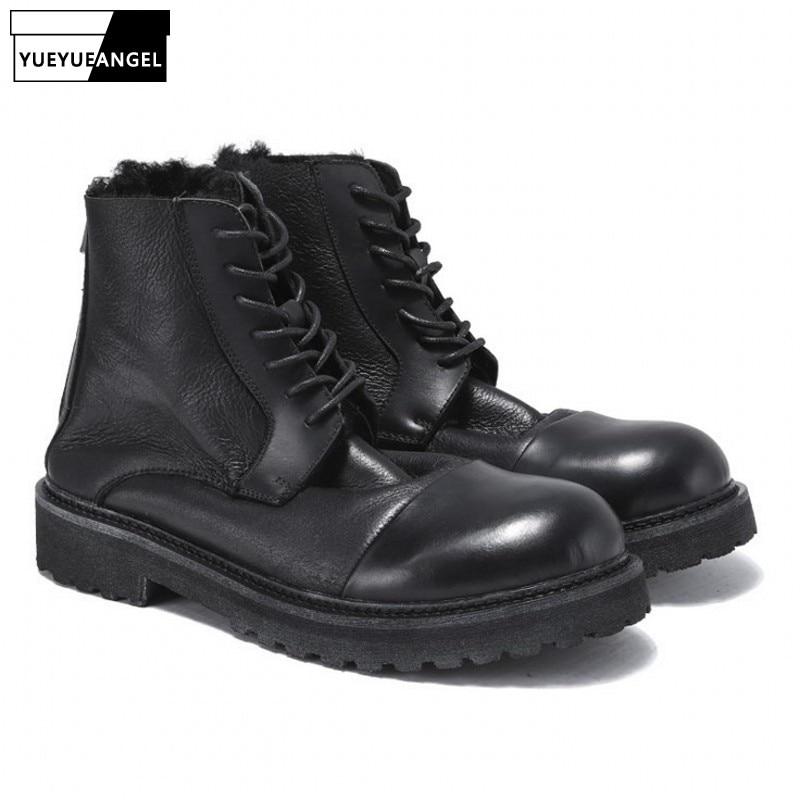 Hommes hiver fourrure chaud bottes de sécurité marque décontracté 100% en cuir véritable bottes à lacets 2019 rétro noir haut coton chaussures mâle