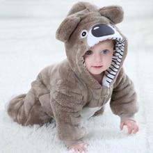 Baby Brown Bear Kigurumi Pajama Clothing Newborn Infant Romper Cartoon Onesie Cosplay Costume Outfit Hooded Onepiece Winter Suit