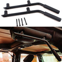 BBQ@FUKA Pair BLK Car Rear Roll Bar Armrests Grab Handles Metal Fit For Jeep JK Wrangler 2007 2015 4 Doors